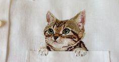 Hiroko Kubota  es una madre japonesa muy talentosa. Vive en la ciudad de Nara en Japón y sus gatitos bordados en los bolsillos de las ca...