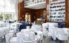 Restaurant in Miami, Florida: Designed by Florentine architect Michele Bonan, Cipriani Downtown Miami features a chic blue and white nautical aesthetic inspired by the ...