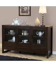 @Overstock - Organize and store your china and table linens in this beautiful dining room buffet with removable glass panels. The rich brown cabinet, constructed out of strong rubberwood, features three drawers and two large interior compartments of various sizes.http://www.overstock.com/Home-Garden/Hartford-Buffet/3134528/product.html?CID=214117 $440.99