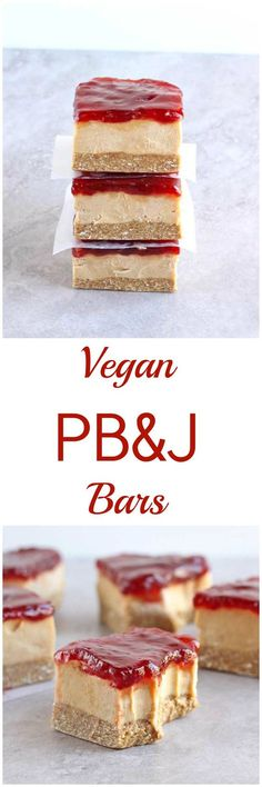 These Vegan PBJ bars are gluten-free, refined sugar free, dairy-free and no-bake! Made with a simple oat crust and topped with a delicious peanut butter filling and smooth jelly, these Vegan PBJ Bars take the beloved sandwich combo to the next level! Vegan Dessert Recipes, Gluten Free Desserts, Dairy Free Recipes, Fun Recipes, Healthy Recipes, Vegan Treats, Vegan Foods, Vegan Snacks, Delicious Snacks