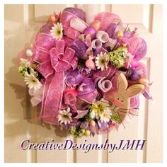 Easter Deco Mesh Wreath by CreativeDesignsJMH on Etsy, $65.00