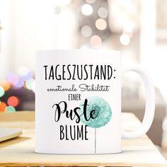 """Geschenk Tasse Kaffeebecher Tasse Kaffee Pusteblume mit Spruch """"Tageszustand, emotionale Stabilität einer Pusteblume."""" ts520 **Geschenk Tasse mit Spruch** • weißer Keramikbecher / Tasse •..."""