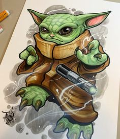 He's gonna grow out of it, And it'll only be a matter of time before he obtains one of these bad boys. marker, ink and airbrush on… Graffiti Doodles, Graffiti Drawing, Graffiti Art, Drawing Superheroes, Marvel Drawings, Cartoon Drawings, Desenho New School, Star Wars Cartoon, Street Art
