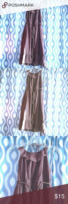 Brown halter dress This is a nice summer halter dress.  It is a knee length dress, it has a stretchy back and it has a ruffle along the neckline.  It comes with a belt/cord.  The fabric is a nice, lightweight fabric perfect for summer.  It is a chocolate brown color.   Never worn but it doesn't have tags.   Pet free and smoke free home. Mossimo Supply Co Dresses