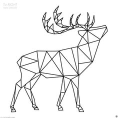 Polygonal Deer wall decal / Deer  decal / Polygon Deer  / Geometric Deer  / Polygon Deer  decal / Tr Geometric Deer, Geometric Drawing, Geometric Shapes, Hilograma Ideas, Triangle Art, Polygon Art, String Art, Easy Drawings, Sculpture Art