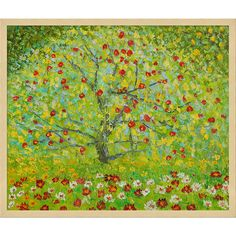 Hand painted oil reproduction of a famous Klimt painting, The Apple Tree. Today it has been carefully recreated detail-by-detail, color-by-color to near perfection. Gustav Klimt (1862-1918) was one of