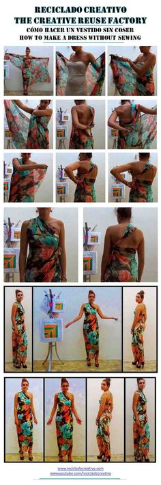 Cómo realizar un vestido de seda sin coser - How to make a silk dress stitch free