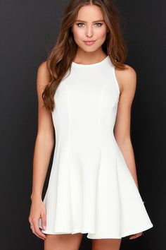 Chic Ivory Dress - White Dress - Scuba Knit Dress - $39.00