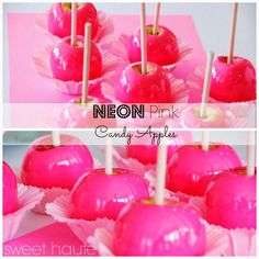Pink Candy Apples How to make Pink Candy Apples Hot Pink Candy Apples Recipe flavored candy apples pink toffee apples secret to bubble free tutorial party Sweet Life, Sweet 16, Pink Candy Apples, How To Make Pink, Pink Foods, Neon Party, Free Candy, Cake Decorating Supplies, Pink Parties