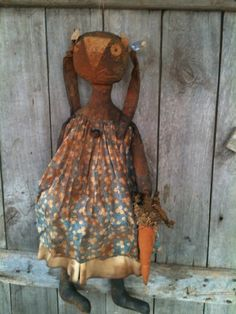 Primitive Folk Art Black Rabbit doll with daisy Dress Feedsack easter bunny