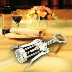Stainless Steel Metal Wine Corkscrew Waiter Beer Bottle Cap Opener