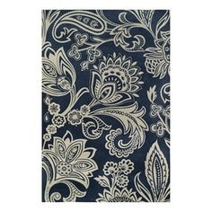 Rectangular Blue Floral Woven Chenille Area Rug (Common: 9-Ft x 12-Ft; Actual: 108-in x 144-in)