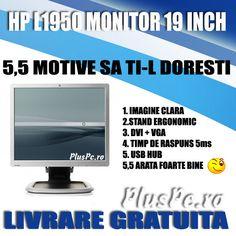 Monitor LCD HP LP1950, 5ms, silver black, picior pivontant flexibil, cablu alimentare + cablu monitor vga sau dvi la alegere http://www.pluspc.ro/monitoare-refurbished-lcd-inch-1950-p-4319.html