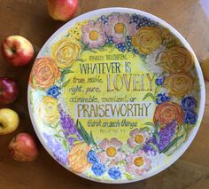 Items similar to Praiseworthy - Hand painted ceramic platter on Etsy Whatever Is True, Hand Painted Ceramics, Platter, Serving Bowls, Vibrant, Pure Products, Unique Jewelry, Handmade Gifts, Tableware