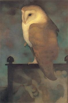 Jan Mankes 1889-1920; Large owl on display 1913; oil on canvas
