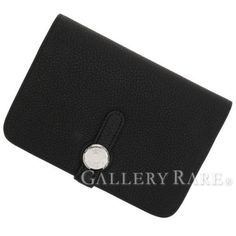 Authentic-Hermes-Dogon-Compact-Wallet-Coin-Case-Stamp-R-France-Black-GR-1784879