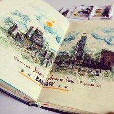 Photographer of real world, notebook maker, writer of irrelevant things, beginner calligrapher and dreamer. Sketch Journal, Art Journal Pages, Art Journals, Travel Journals, Travel Sketchbook, Art Sketchbook, Fashion Sketchbook, Art Altéré, Watercolor Journal