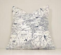 PAIR Map Pillow Cover World Map Planes TravelToss Pillow