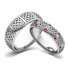 Matching Wedding Band in Gold Celtic Diamond Wedding Ring. His and hers wedding bands set in gold showcase a Celtic diamond wedding ring for women and a Celtic knot wedding band for men. Create your matching wedding bands from My Love Wedding Ring. Ruby Wedding Rings, Wedding Rings For Women, Wedding Ring Bands, Rings For Men, Mens Celtic Wedding Bands, Sapphire Wedding, Matching Wedding Bands, Wedding Matches, Matching Rings