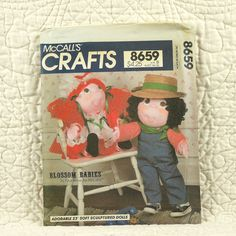 Blossom Babies, Dolls and Clothes Pattern, McCalls 8659 Crafts, Faye Wine, Soft Sculptured, Boy and Girl, 1983 Uncut, 23 Inch, 4-oz by DartingDogCrafts on Etsy
