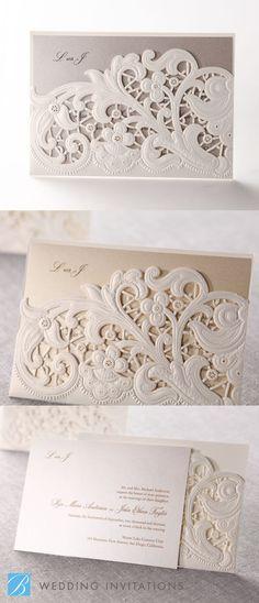 Laser Cut Floral Pocket Wedding Stationery by B Wedding Invitations