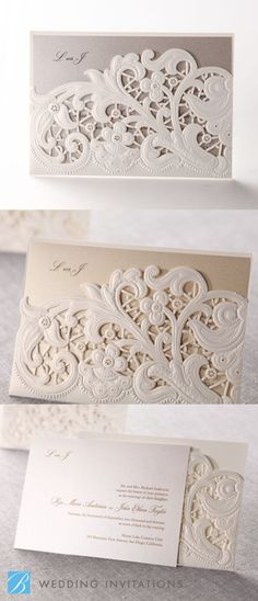 Laser Cut Floral Pocket by B Wedding Invitations | Cordillera, Colorado  http://cordilleraliving.com