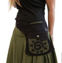 Купить Сумка карман на пояс - сумка поясная, сумка на пояс, черный, орнамент, сумка карман