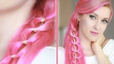 Cute and easy summer kawaii hairstyle. Long hair tutorial with pink extensions.