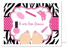 Zebra Pedicure Spa Party Thank You Note Cards Personalized Pedicure Spa, Spa Party Invitations, Spa Birthday Parties, Polka Dot Background, Party Nails, Thank You Note Cards, Card Sizes, Party Themes, Fiestas