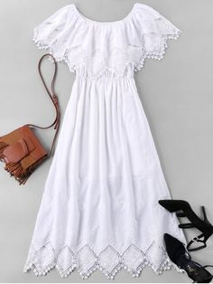 Shop for Lace Trim Long Caplet Dress WHITE: Casual Dresses XL at ZAFUL. Only $33.99 and free shipping!