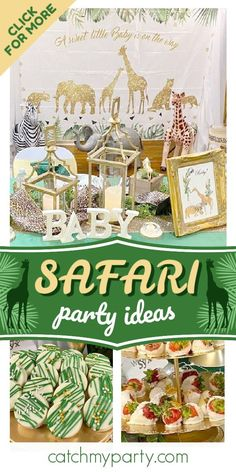 Check out this awesome safari baby shower! The dessert table is fantastic!  See more party ideas and share yours at CatchMyParty.com #catchmyparrty #partyideas #safari #safaribabyshower #safarianimals #babyshower