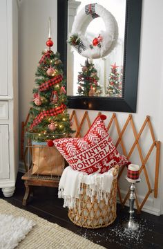 Mini Christmas trees, vintage metal egg crates, warm wood step stools... twinkle lights and chunky woven baskets stuffed with cozy Winter throws and pillows, like this red sweater cutie with pom pom trim from @homegoods have us ready to celebrate in comfort. Bring on the holidays! foxhollowcottage.com sponsored pin