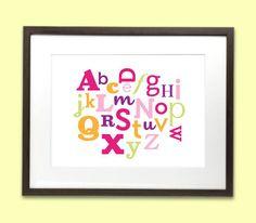 Alphabet art print poster for baby nursery or by MarsDesignStudio, $15.00