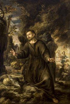 Valdés Leal - San Ignacio de Loyola haciendo penitencia en la Cueva de Manresa; serie de la vida de San Ignacio de Loyola