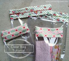 Awesome! clear bag tutorial with zipper top