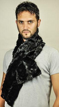 Sciarpa in vera pelliccia di visone per uomo  www.amifur.it