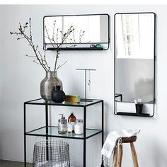 Lustro z półką CHIC poziome czarne - House Doctor - Nordic Decoration Home 629 zł