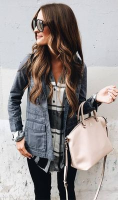 incredible fall outfit jakcet + plaid shirt + bag + skinnies