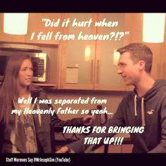 From Stuff Mormons Say, created by Joseph Sim (YouTube - @Joseph Cohen Jonge Cohen Jonge Sim)  - - - -   (Tags)  LDS quote, Stuff Mormons Say, 1, 2, 3, Mormon humour, Joseph Sim, Mormon comedy, things mormons say. Mrjosephsim Mr.