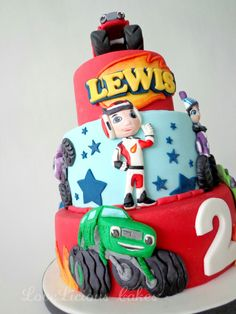 Blaze and the monster machine cake www.loveliciouscakes.nl