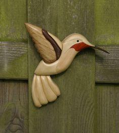 Hummingbird, pattern by Lucille Crabtree. Made out of Readheart, ash, hornbeam, poplar green, walnut, oak.