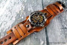 Wide leather watch strap, Digital leather cuff watch, Brown leather wrist watch, Leather gift for men, Birthday gift for him Brown Leather Watch, Leather Watch Bands, Wrap Watches, Watches For Men, Jewelry Watches, Leather Cuffs, Leather Men, Steampunk Watch, Mens Watches Leather