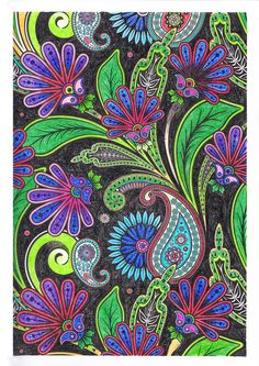 Colouring Pages For Adults Flowers On Black Background By SandraKZ