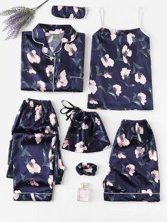 Shein Floral Print Satin Pajama Set - Pajama Sets - Ideas of Pajama Sets - Shop Floral Print Satin Pajama Set online. SheIn offers Floral Print Satin Pajama Set & more to fit your fashionable needs. Satin Pyjama Set, Satin Pajamas, Pajama Set, Pyjamas, Pajama Party, Cute Sleepwear, Loungewear, Slep Dress, Fashion Clothes