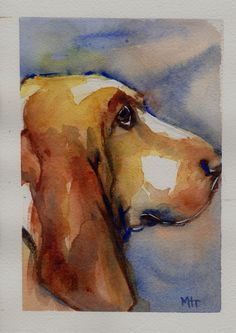 Basset Hound Watercolor Art by mariaswatercolor on Etsy, $35.00