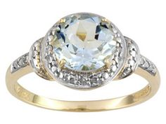 Brazilian Aquamarine 1.80ct With White Diamond .02ctw Accent 10k Yellow Gold Ring