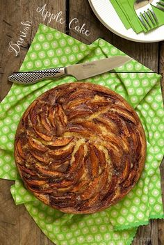 Danish Apple Cake - A tender yellow cake with not only a delicious cinnamon apples apple topping but they're also scattered all through the cake!