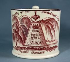 Creamware mug commemorating the death of Queen Caroline, circa 1821