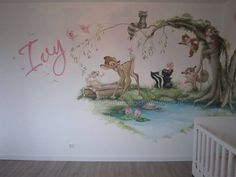 . Baby Room Wall Art, Baby Room Decor, Nursery Room, Girl Nursery, Nursery Decor, Bambi Nursery, Kids Room Murals, Bedroom Murals, Baby Bedroom