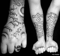 An ancient hunting scene comes to life on human skin and runestone power inked on forearms